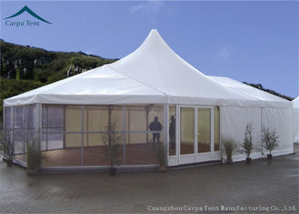 ประเทศจีน Fireproof Canvas Aluminium Frame Tents 15m * 20m With Wooden Flooring ผู้ผลิต